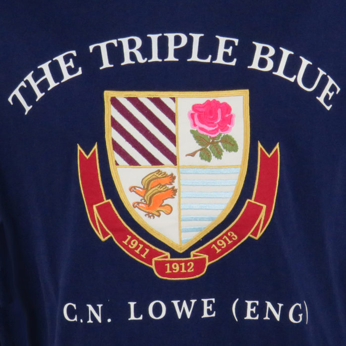 The Triple Blue T-Shirt in Navy Front Detail Image