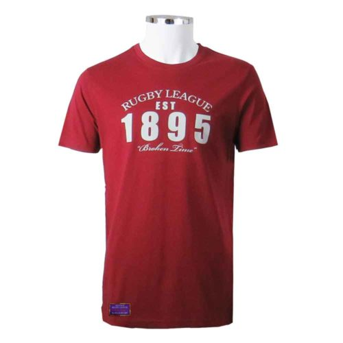 1895 Rugby League T-Shirt Vintage Red Front